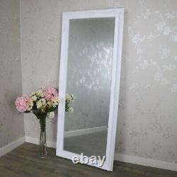 Extra Grand Blanc Plein Mur Miroir De Plancher Minable Vintage Maison Chambre Chic