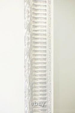 Extra Grand Bois Antique Blanc Mur Pleine Longueur Miroir 6ft7 X 4ft7 201 X 140cm