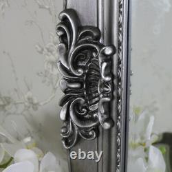 Extra Grand Orné Antique Miroir De Plancher De Mur Argenté Pleine Longueur Vintage Chic