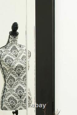 Extra Large Black & Silver Wall Mirror Art Déco Pleine Longueur 5ft9x2ft9 174 X 85cm
