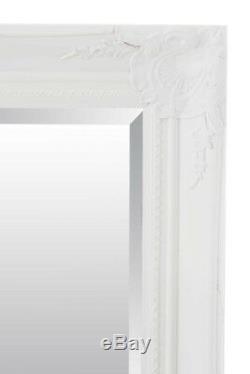 Extra Large Blanc Cadrage En Pied Antique Biseautées Miroir Mural 5ft6x3ft6 164cmx102cm