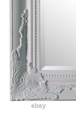 Extra Large Classic Ornate Full Length White Wall Mounted Wood Mirror 6ft7x4ft7