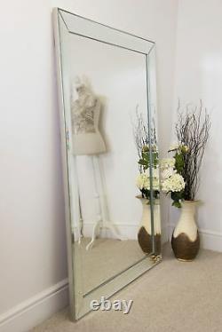 Extra Large Full Length Silver Tout Verre Miroir Mural 5ft8 X 3ft8 172cm X 111cm