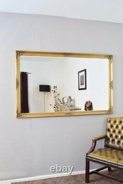 Extra Large Gold Wall Mirror Vintage Pleine Longueur 5ft6 X 3ft6 168cm X 107cm