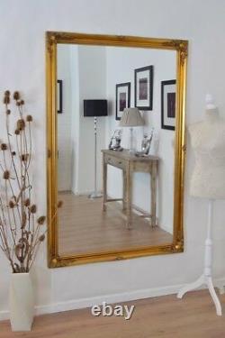 Extra Large Longueur Plein Mur D'or En Bois Peint Miroir Antique 5ft6 X 3ft6