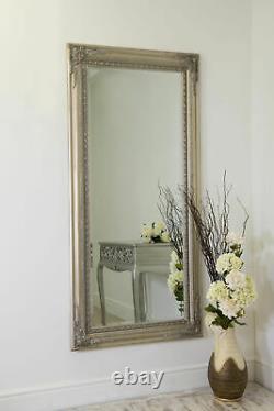 Extra Large Pleine Longueur Argent Antique Style Wall Mirror Wood Long 178cm X 87cm