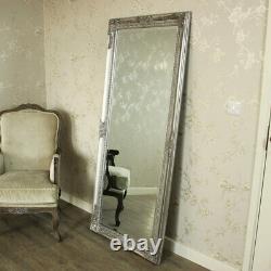 Extra Large Silve Plein Plancher De Mur Miroir Shabby Vintage Chic Chambre À Coucher Maison