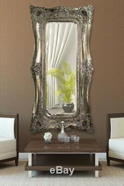 Extra Large Très Fleuri Cadrage En Pied Antique Argent Miroir Mural X 6 Pi 3 Pi