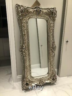 Extra Large Très Ornement Cadrage En Argent Antique Miroir Mur Ou Au Sol Hung