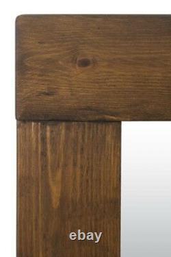 Extra Large Wall Mirror Brown Solid Wood Encadré Pleine Longueur 6ftx3ft 183cm X 91cm