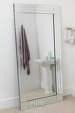 Extra Large Wall Mirror Full Length Silver All Glass Bathroom 5ft8x2ft9 174x85cm