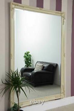 Extra Large Wall Mirror Ivoire Antique Vintage Pleine Longueur 6ft7x4ft7 201 X 140cm