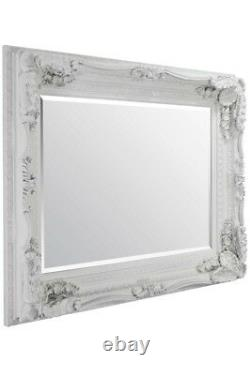 Extra Large Wall Mirror Ivoire Full Length Vintage Wood 4ft X 3ft 122cm X 91cm