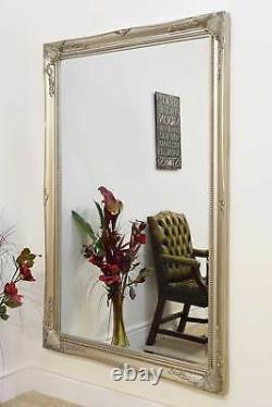Extra Large Wall Mirror Silver Antique Vintage Pleine Longueur 5ft7x3ft7 170 X 109cm