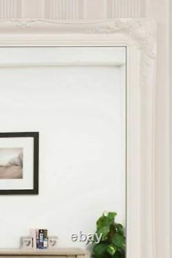 Extra Large White Antique Full Length Long Wall Mirror 5ft6 X 2ft6 165cm X 75cm
