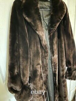 Fab Full Length Sheared Beaver Fur Coat Sz L Orig 3000 $ Jambe De Manchette D'agneau