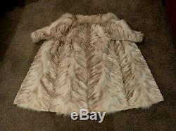 Fabuleux! Fox Fur Sz De W Coat Grande Longueur Complète Avec Chevron Motif, Doublure Brown