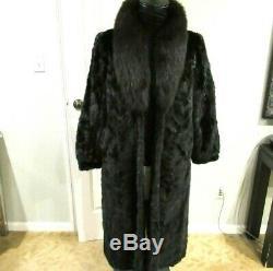 Fabuleux Noir Mink Pieces Avec Complet, X / Grand Complet Fox Collet Coat Longueur Sz M / L