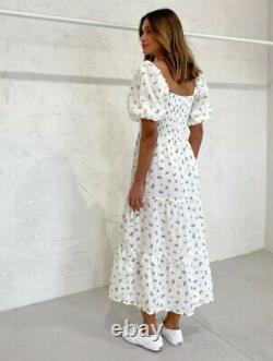 Faithfull The Brand Gianna Floral Print MIDI Dress Size Large 12 14 Linge Bnwt