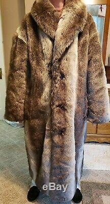 Falcone Fox Cadrage Hommes Manteau De Fourrure Avec Silver Fox-brown Taille Fourrure Grand