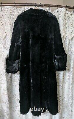 Femme 40's Vintage Seal Teed Coney (rabbit) Manteau De Fourrure Longueur Complète Noir Grand