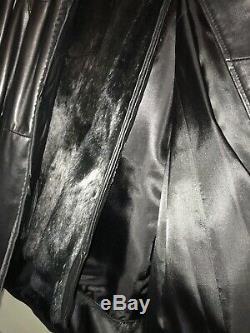 Femmes Noir Overland Cuir Et Manteau De Fourrure Pleine Longueur, Taille X-large