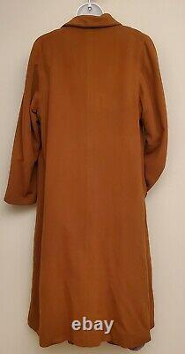 Fleurette Vintage 100% Cachemire Pleine Longueur Long Over Coat Brown Sz Large