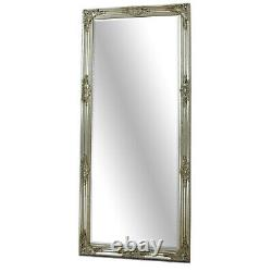 Florence Grand Cadrage En Argent Feuille Chic Leaner Mur Sol Miroir 64 X 28
