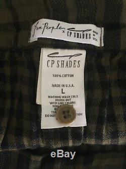 Free People Cp Shades Jupe À Carreaux Coton Maxi Grunge Épuisé Black Olive L Nwot