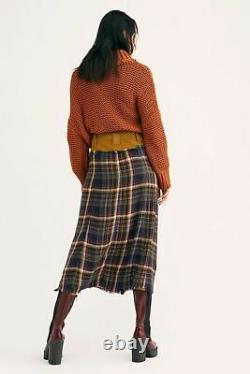 Free People Nwt Taille 12 Grande Avril Plaid Flannel Maxi Jupe Nouvelle