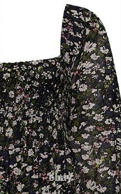 Ganni Viscose-georgette Floral Print Maxi Robe. Ue 40/fr 42/uk 14