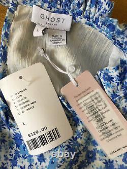 Ghost Bleu Floral Solene Prairie MIDI Maxi Robe Taille L 14 Anthropologie Rixo