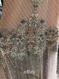 Golu Designer Asian Maxi Dress Peach Royaume-uni Taille 16 Rtp £ 550