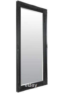 Grand Antique Cadrage En Pied Ornement Styled Noir Miroir 5ft7 X 170cm X 79cm 2ft7