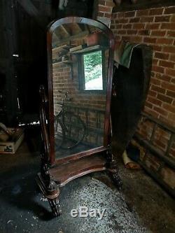 Grand Antique Victorienne Acajou Cheval Dressing Cadrage En Chambre Miroir