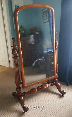 Grand Antique William 1v Acajou Cheval Dressing Cadrage Miroir