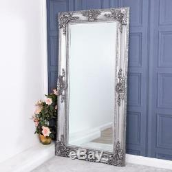 Grand Argent Miroir Cadrage Mur Chambre Très Orné Hall D'entrée Salon