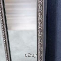 Grand Argent Miroir Cadrage Mur Ornement En Verre Chambre Hall D'entrée 180cm X 94cm