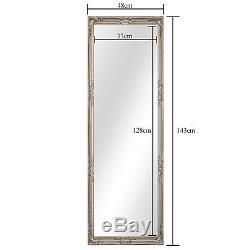 Grand Argent Shabby Chic Cadrage En Leaner Mur Sol Miroir 48 X 143 CM Nouveau