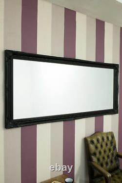 Grand Black Shabby Chic Full Longueur Grand Miroir Mural 5ft6 X 2ft6 165cm X 75cm