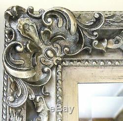 Grand Chic Argent Cadrage Antique Leaner Mur Étage Miroir 5ft9x2ft9