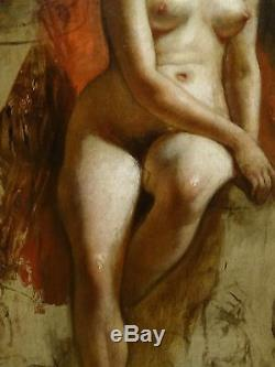 Grand Circa 1900 Longueur Pleine Studio Nu Lady Portrait Frank Owen Salisbury