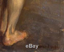 Grand Début Du 20ème Siècle Cadrage Nu Masculin Portrait Etude Peinture Antique