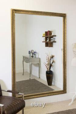Grand Miroir Antique Antique De Mur Antique De Grande Longueur D'or 6ft7 X 4ft7 200 X 140cm