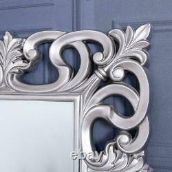 Grand Miroir Argent Full Length Bedroom Hallway Home Wall Ornate 167 X 91cm