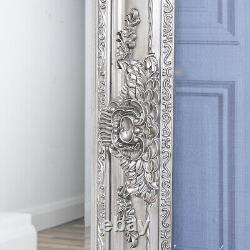 Grand Miroir Argenté Fortement Orné Décor À La Maison De Mur Pleine Longueur 120cm X 90cm