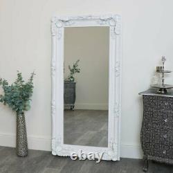 Grand Miroir Blanc De Mur Pleine Longueur Orné Sculpté Français Chambre De Salon