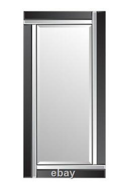 Grand Miroir De Mur Biseauté De Pleine Longueur Noir Et Argent 5ft9 X 2ft9 174cm X 85cm
