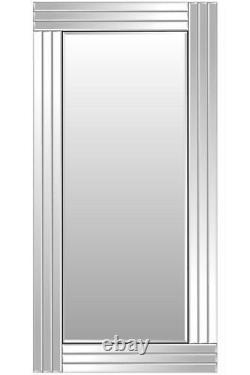 Grand Miroir De Mur Plus Maigre De Pleine Longueur Biseauté Argenté 5ft8 X 2ft9 174cm X 85cm