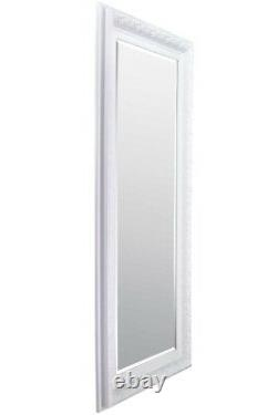 Grand Miroir Long Orné Blanc Pleine Longueur 5ft10x2ft10 177cmx86cm